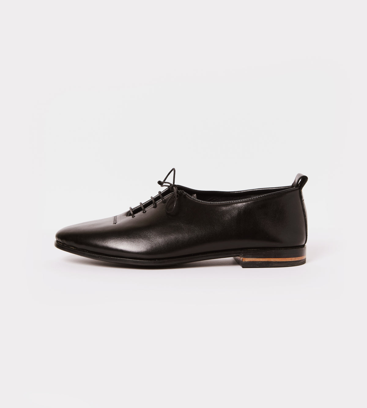 Black calf leather wholecut soft shoe outside view