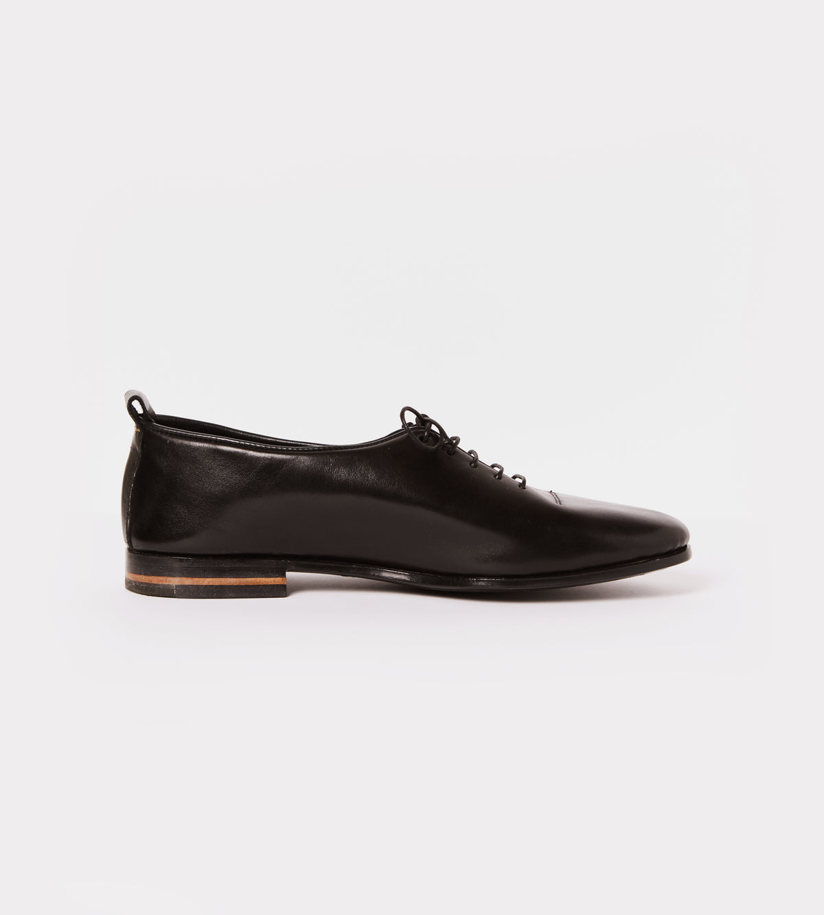 Black calf leather wholecut soft shoe inside view