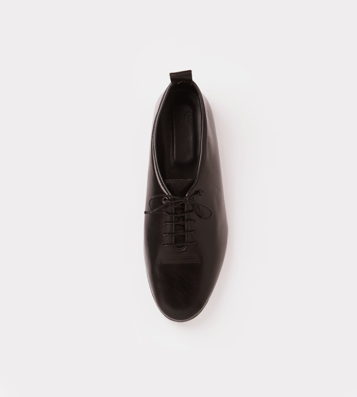 Black calf leather wholecut soft shoe top view