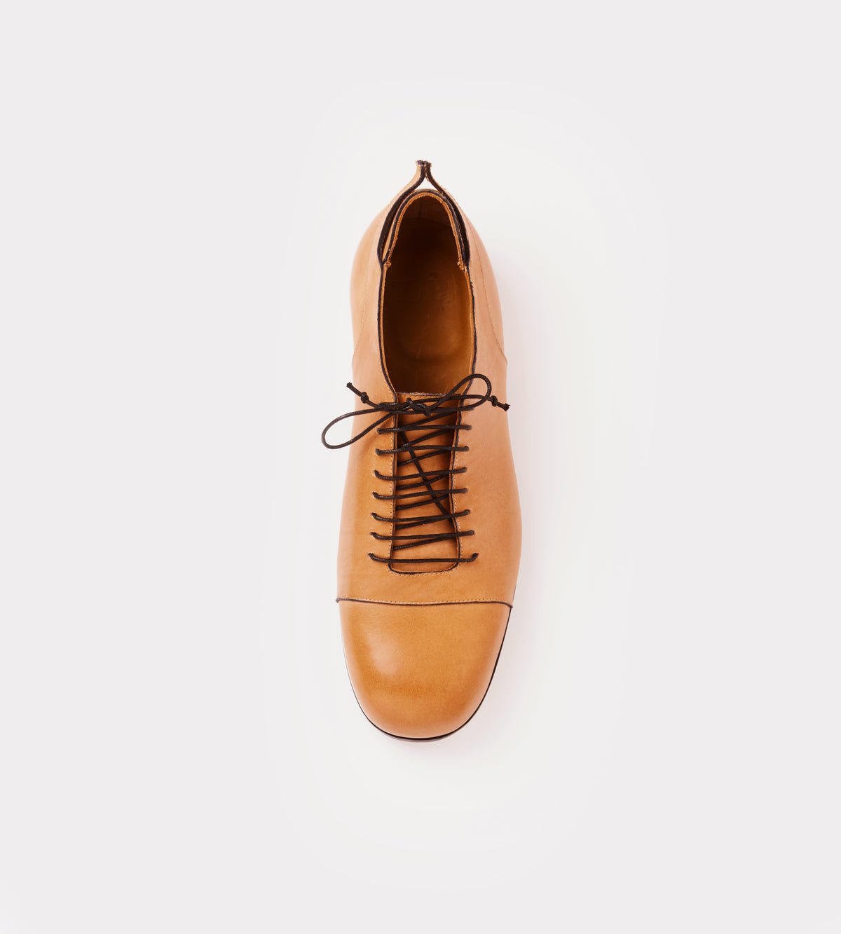 Natural leather lace up shoe top view