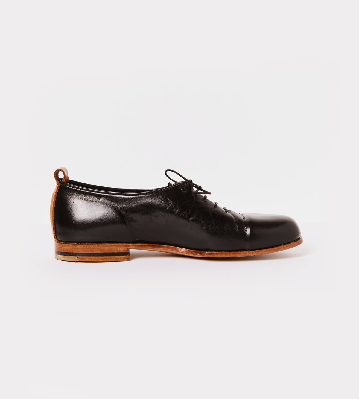Black calf leather wholecut shoe inside view