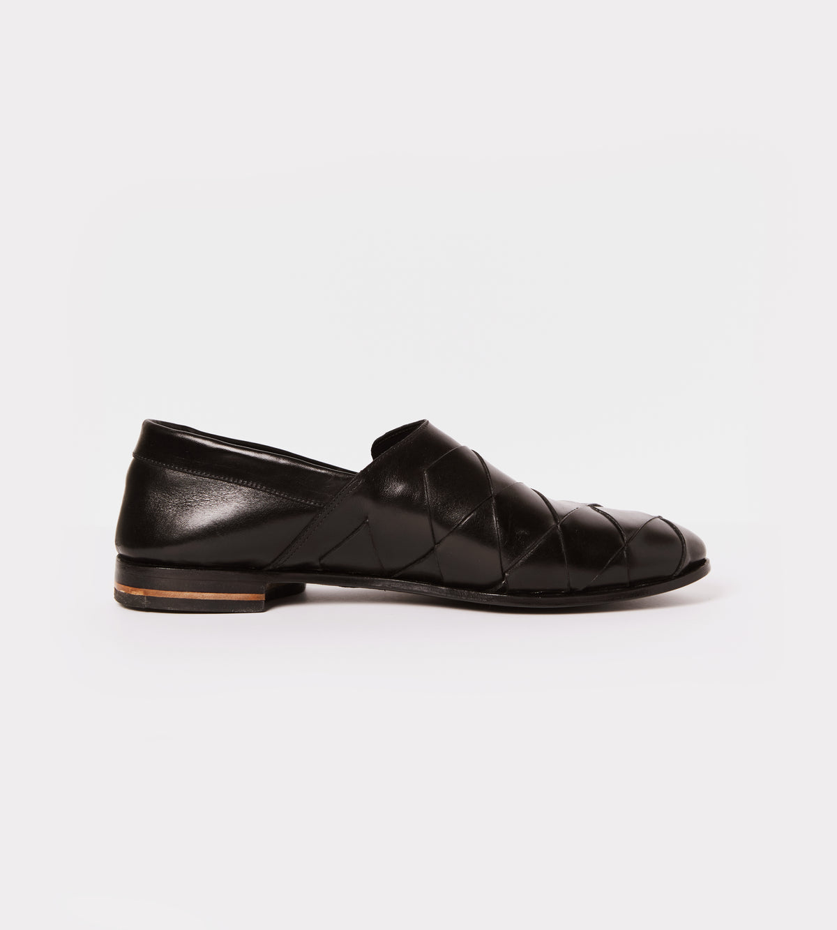 Black hand woven calf leather slip on inside view