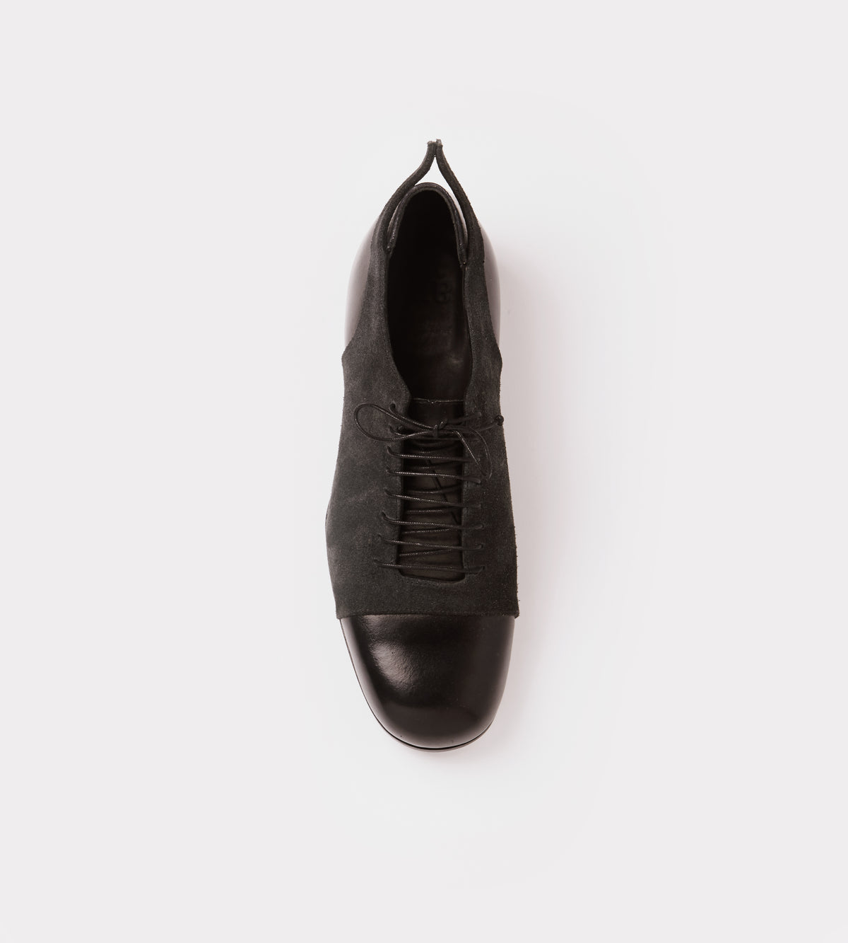 Black leather-suede lace up shoe top view