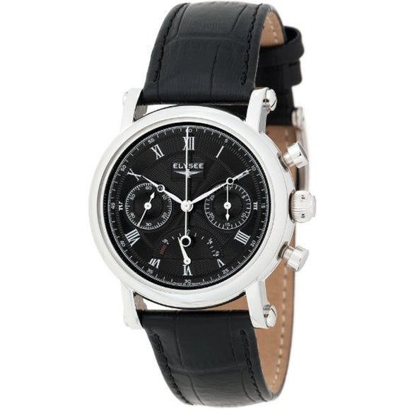 Elysee Mechanical Chronograph Black Leather Men Watch 12021 - Watch it! Pte Ltd