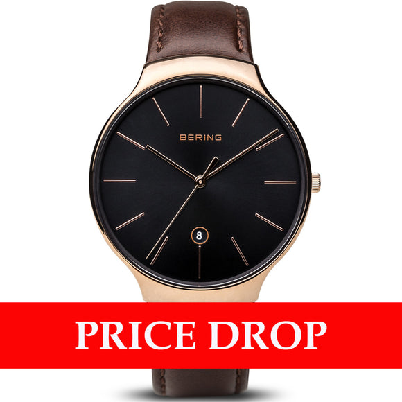 Bering Classic 13338-562 Polished Rose Gold 38mm Men's Watch - Watch it! Pte Ltd