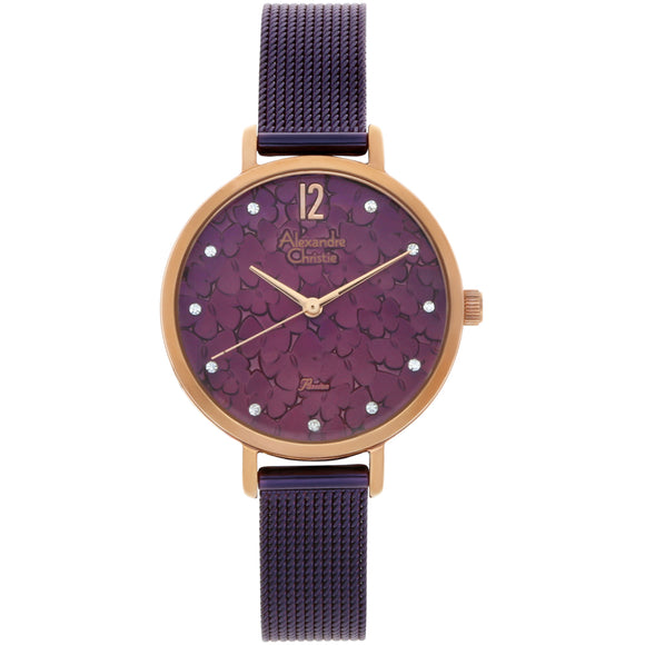 Alexandre Christie Purple Mesh Strap Butterfly Embossed Dial Ladies Watch 2728LHBRUPU - Watch it! Pte Ltd