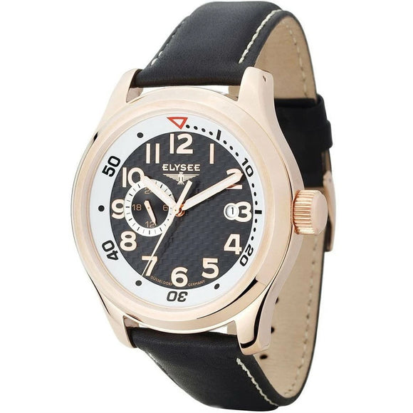 Elysee Automatic Black Leather Men Watch 28421 - Watch it! Pte Ltd