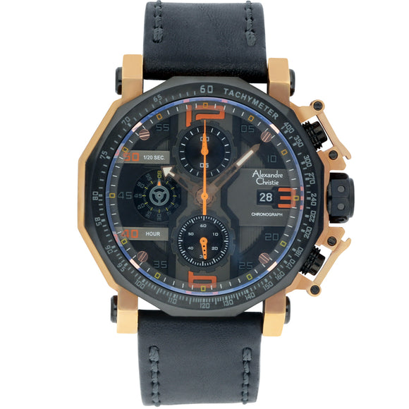 Alexandre Christie Black Leather Chronograph Mens Watch 6373MCLIPBRBA - Watch it! Pte Ltd