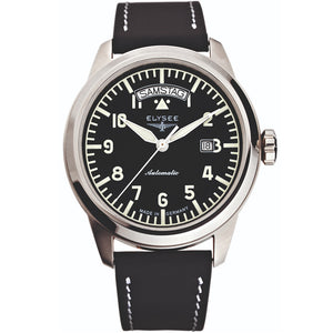 Elysee Mythos IV Automatic Black Leather Men Watch 70933 - Watch it! Pte Ltd
