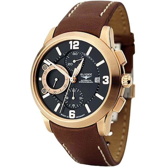 Elysee Mythos V Automatic Brown Leather Men Watch 70938 - Watch it! Pte Ltd