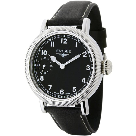 Elysee Danaos Mechanical Black Leather Men Watch 71006 - Watch it! Pte Ltd