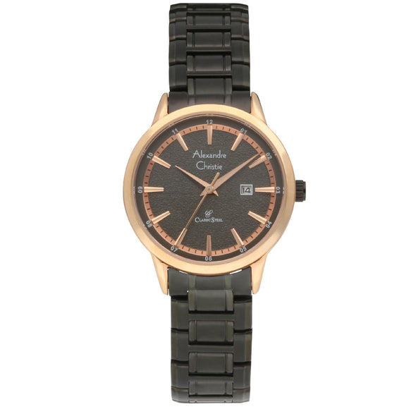 Alexandre Christie Rose Gold Bezel and Black Ion Plated Ladies Watch 8454LDBBRBA - Watch it! Pte Ltd
