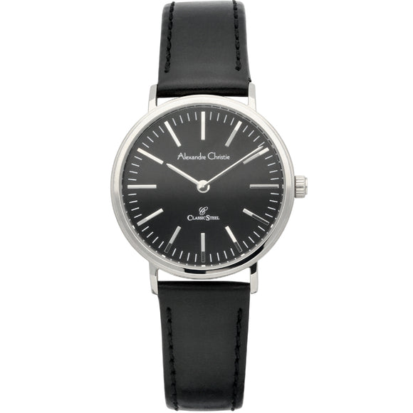 Alexandre Christie Classic Steel Black Leather Strap Ladies Watch 8456LHLSSBA - Watch it! Pte Ltd
