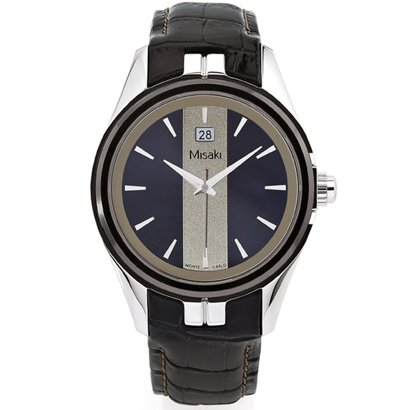 Misaki ADRENALINBLS Stylish Black Leather Strap Mens Watch - Watch it! Pte Ltd