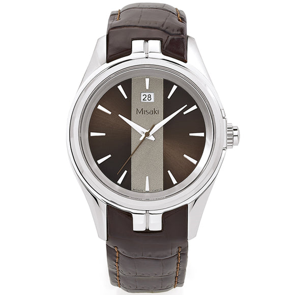 Misaki ADRENALINBRS Stylish Brown Leather Strap Mens Watch - Watch it! Pte Ltd