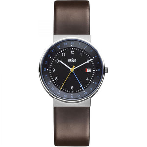 Braun Gents BN0142 GMT World Timer Analog Display Brown Strap Watch - Watch it! Pte Ltd