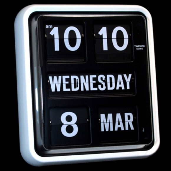 Twemco BQ-170 Flip Clock (White Case Black Dial) - Watch it! Pte Ltd