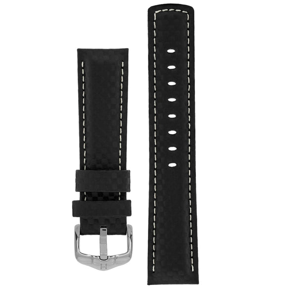 Hirsch CARBON Embossed Water-Resistant Leather Watch Strap - Watch it! Pte Ltd