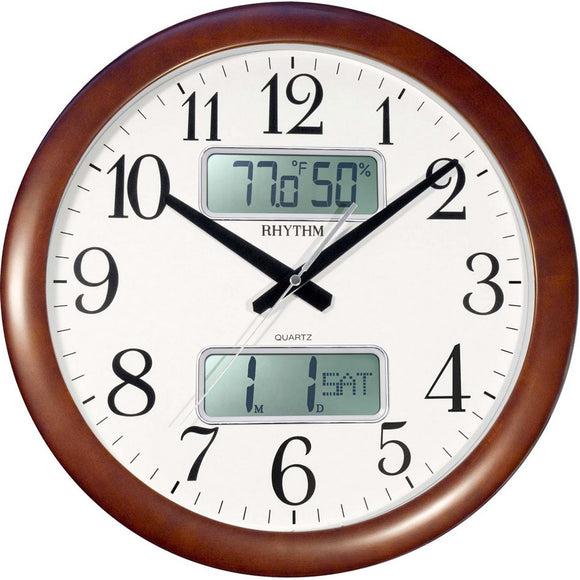 Rhythm Estado Wall Clock CFG901NR06 (Brown) - Watch it! Pte Ltd