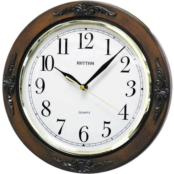Rhythm Vintage Style Wall Clock Brown CMG938NR06 - Watch it! Pte Ltd