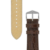 Hirsch CROCOGRAIN Crocodile Embossed Leather Watch Strap (Silver Buckle)