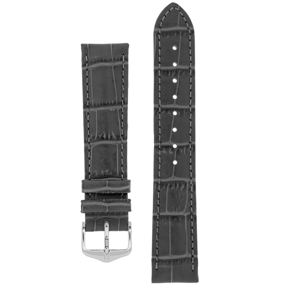 Hirsch DUKE Alligator Embossed Leather Watch Strap (Silver Buckle) - Watch it! Pte Ltd