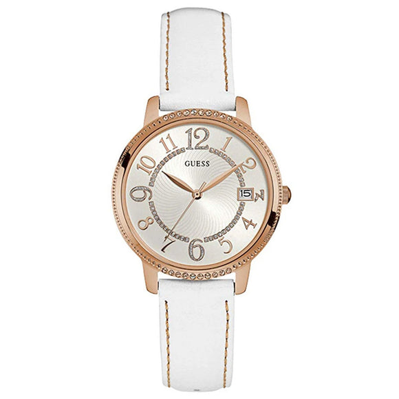 Guess GWW0930L1 Kismet Rose Gold Analog White Leather Strap - Watch it! Pte Ltd