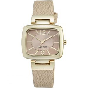 Nine West Gold Tone Beige Leather Strap Watch NW-1856NTNT - Watch it! Pte Ltd