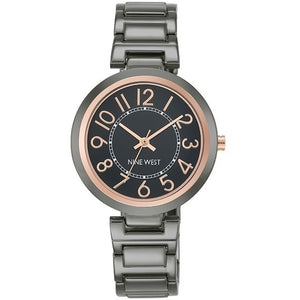 Nine West Gun Metal Tone Ladies Dress Watch NW-1893GNRT - Watch it! Pte Ltd