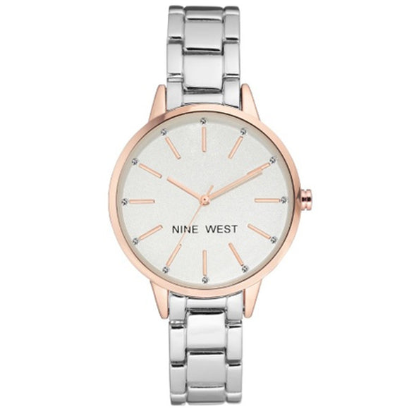Nine West Crystal Accented Two-Tone Ladies Watch NW-2099RGSB - Watch it! Pte Ltd