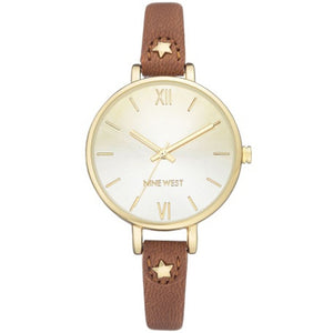 Nine West Gold-Tone Brown Strap Ladies Dress Watch NW-2124CHLU - Watch it! Pte Ltd