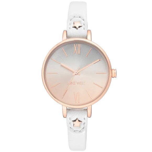 Nine West Rose Gold-Tone White Strap Ladies Watch NW-2124RGWT - Watch it! Pte Ltd