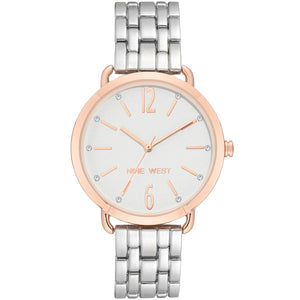 Nine West Crystal Accented Two Tone Ladies Dress Watch NW-2151WTRT - Watch it! Pte Ltd
