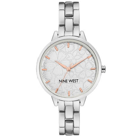 Nine West Silver Dial Embossed Flower Design Ladies Watch NW-2227SVRT - Watch it! Pte Ltd