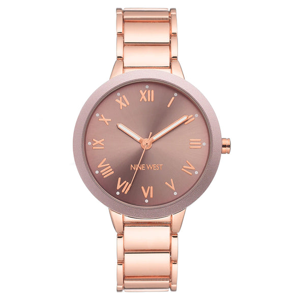 Nine West Mauve Sunray Dial Rose Gold Bracelet Ladies Watch NW-2248MVRG - Watch it! Pte Ltd