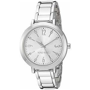 Nine West Crystal Accented Silver Bracelet Ladies Dress Watch NW-2277SVSV - Watch it! Pte Ltd