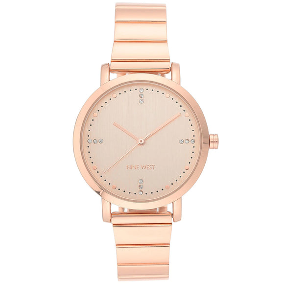 Nine West Crystal Accented Rose Gold Bracelet Ladies Watch NW-2278RGRG - Watch it! Pte Ltd