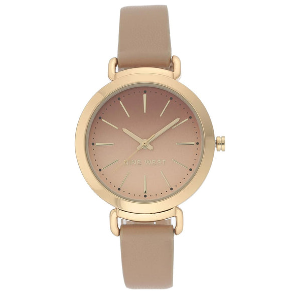 Nine West Gold Tone Tan Leather Strap Ladies Watch NW-2288GPTN - Watch it! Pte Ltd