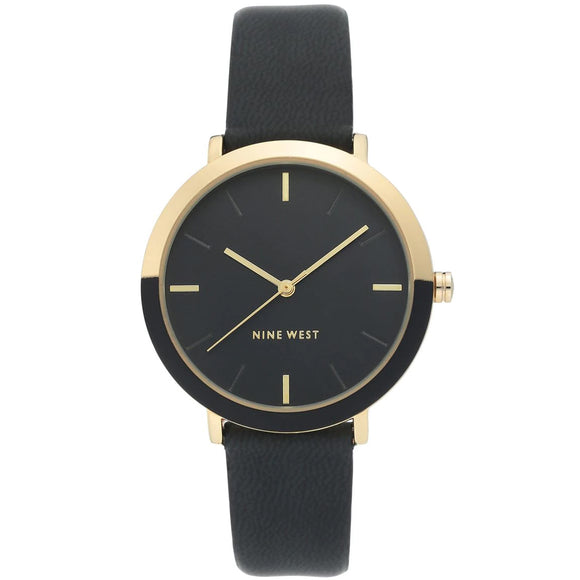 Nine West Gold Tone Black Leather Strap Ladies Watch NW-2346GPBK - Watch it! Pte Ltd