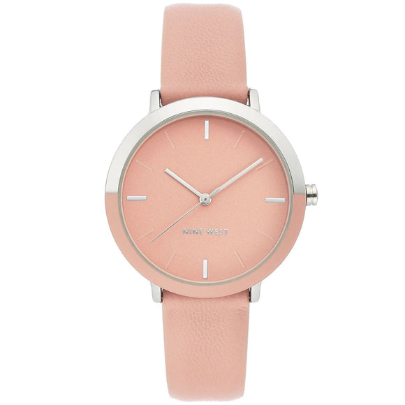 Nine West Silver Tone Pink Leather Strap Ladies Watch NW-2347SVPK - Watch it! Pte Ltd