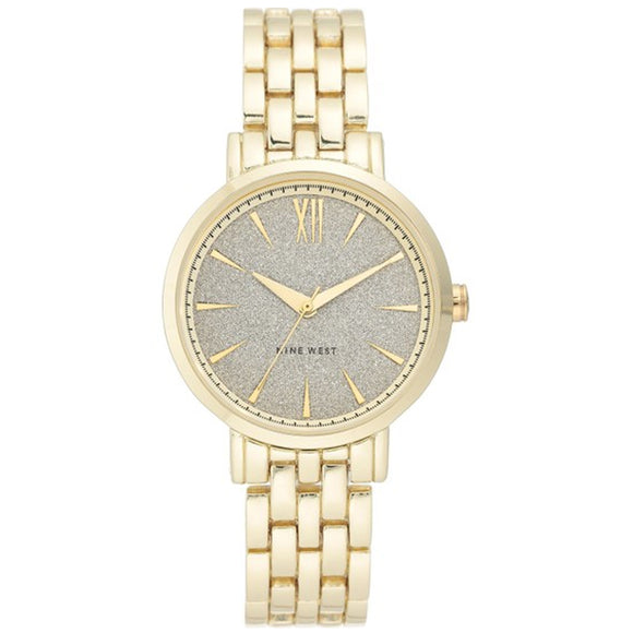 Nine West Glitter Dial Gold-tone Bracelet Ladies Watch NW-2402SVGP - Watch it! Pte Ltd