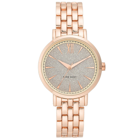 Nine West Glitter Dial Rose Gold-tone Bracelet Ladies Watch NW-2402SVRG - Watch it! Pte Ltd