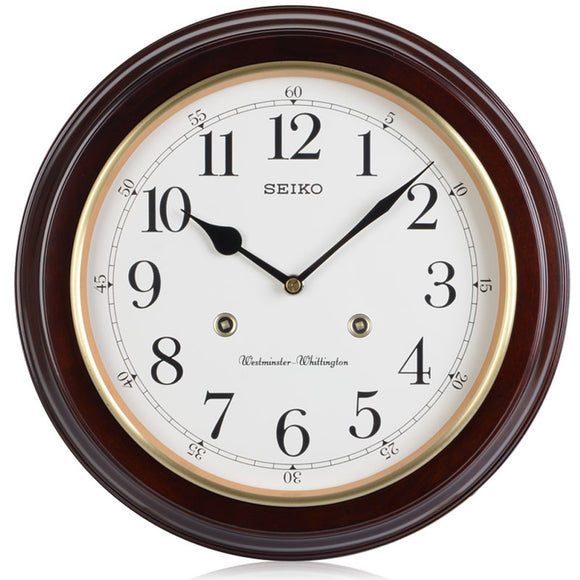 Seiko Wooden Westminster Chime Station Wall Clock QXH202Z - Watch it! Pte Ltd