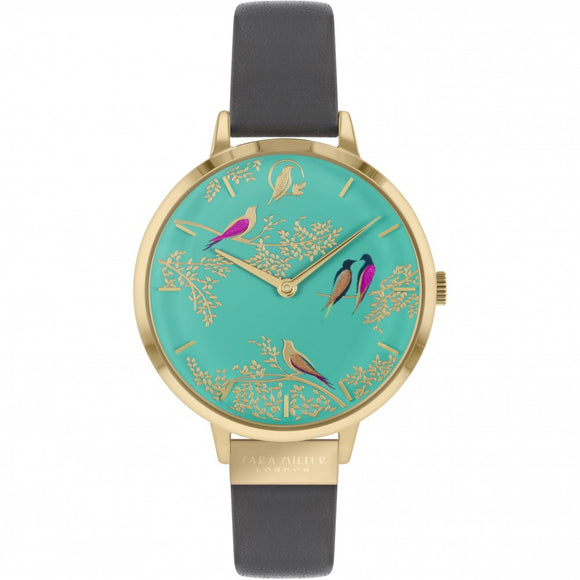 Sara Miller Chelsea Green Birds Green Dial Grey Leather Watch SA2014 - Watch it! Pte Ltd