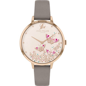 Sara Miller Kew Rose Gold Dial Grey Leather Watch SA2080 - Watch it! Pte Ltd