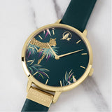 Sara Miller Leopard Gold Bezel Green Leather Watch SA2084 - Watch it! Pte Ltd