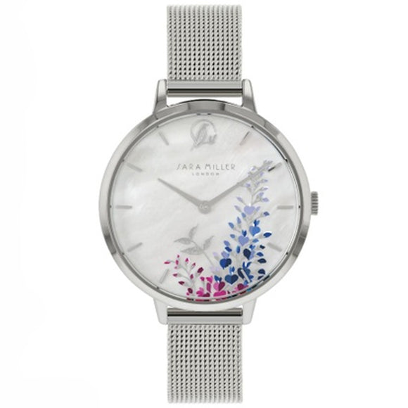 Sara Miller Wisteria - Mother of Pearl Dial Stainless Steel Mesh Strap Watch SA4031 - Watch it! Pte Ltd