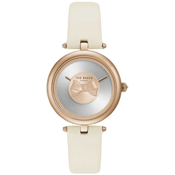 Ted Baker Womens Andrea Rose Gold Bow Dial White Leather Strap TE15199002 - Watch it! Pte Ltd