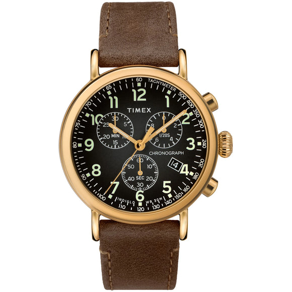 Timex STANDARD CHRONOGRAPH 41mm Leather Strap Watch TW2T20900 - Watch it! Pte Ltd
