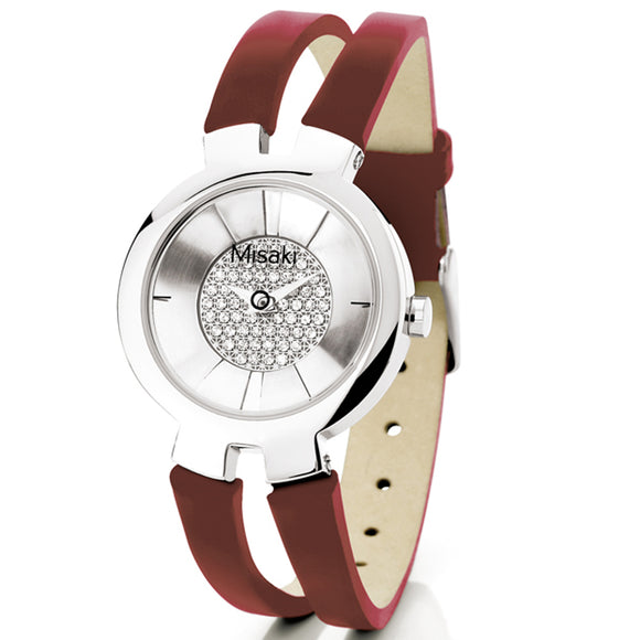 Misaki Cruella Women's Red Leather Strap Watch - Watch it! Pte Ltd